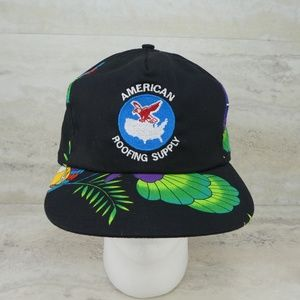 Vintage American Roofing Supply Tropical Print Hat